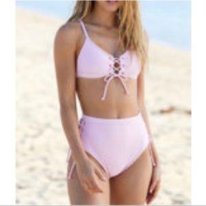 LA Hearts Pacsun ribbed lace up bikini light pink